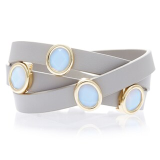 Alchemy Jewelry Gold-Plated White Chalcedony Taupe Leather Wrap Bracelet