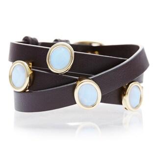 Alchemy Jewelry White Chalecedony Gemstone Leather Wrap Bracelet