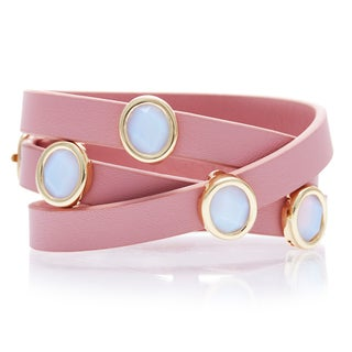 Alchemy Jewelry White Chalcedony Pink Leather Wrap Bracelet