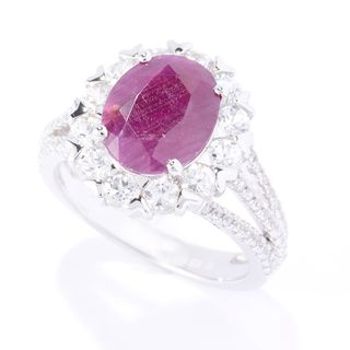 Sterling Silver Oval Indian Ruby White Zircon Ring