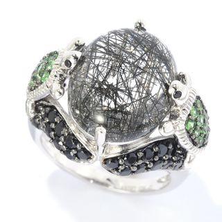 Sterling Silver Multi-gemstone Turtle Ring