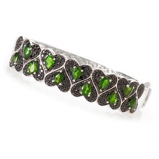 Sterling Silver 8 7/8ct TGW Diopside and Spinel Ring
