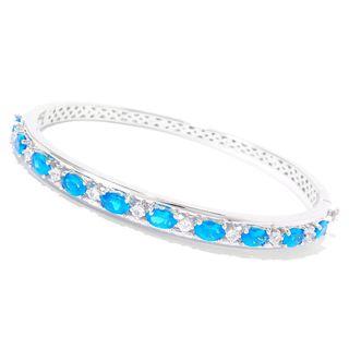 Sterling Silver Neon Apatite White Zircon Bracelet