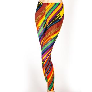 Women's Full Length Multicolor Diagonal Striped Leggings