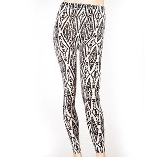 Women's Full Length Black and White Aztec Print Leggings