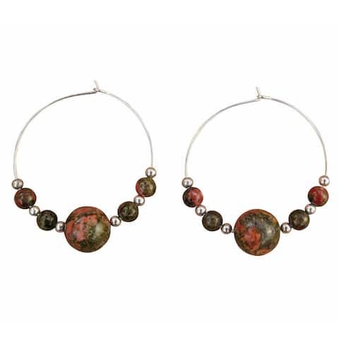 Handmade Sterling Silver Unakite Beaded Hoop Earrings