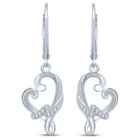 Unending Love Sterling Silver .06ct. TDW Diamond Loving Arms Dangle Earrings