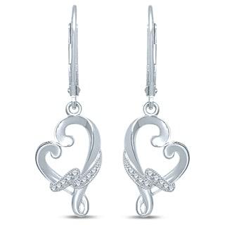 Unending Love Sterling Silver .06ct. TDW Diamond Loving Arms Dangle Earrings
