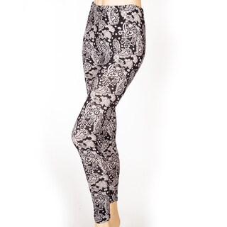 Leggings Ladies Full Length Black and White Paisley Print