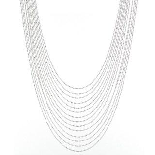 Karizia Italian Sterling Silver 14-strand Graduated Chain Necklace