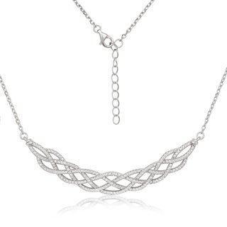 La Preciosa Sterling Silver Micropave Cubic Zirconia Large Designed Necklace