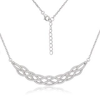 La Preciosa Sterling Silver Micropave Cubic Zirconia Large Designed Necklace