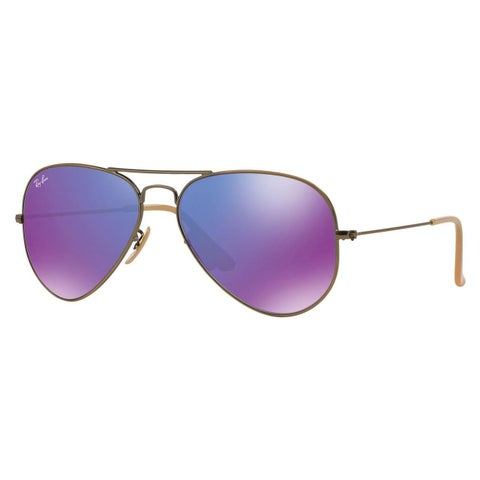 Ray-Ban Aviator Unisex Bronze/Copper Frame Violet Mirror Lens Sunglasses