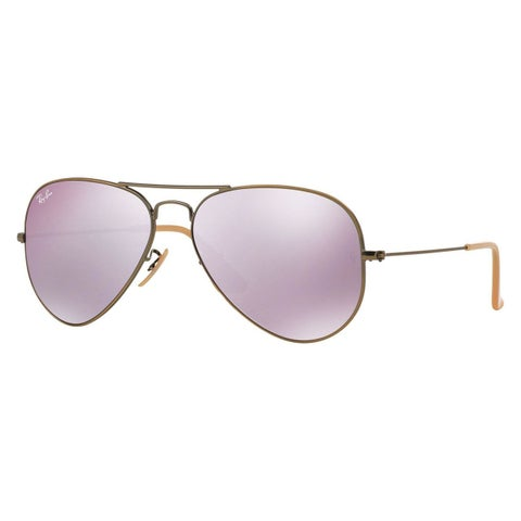 Ray-Ban Aviator RB3025 Unisex Bronze/Copper Frame Lilac Mirror Flash Lens Sunglasses