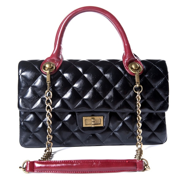 Black Faux Leather Quilted Handbag With Chain Shoulder Strap Red Handles Gold Detailed