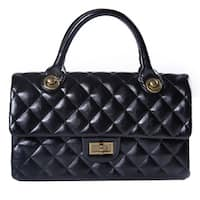 Black Faux Leather Quilted Handbag with Chain Shoulder Strap, Handles, Gold-Detailed Clasp