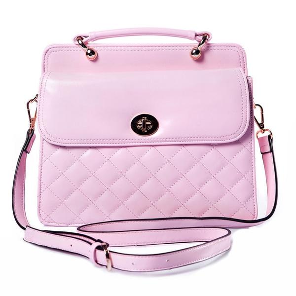 Pale Pink Festival Bag Handbag, Faux Quilted Leather, Detailed Clasp, Shoulder Strap