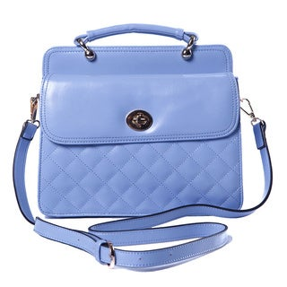 Pale Blue Festival Bag Handbag, Faux Quilted Leather, Detailed Clasp, Shoulder Strap