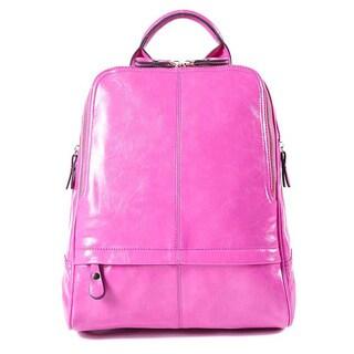Fushia Faux Leather Backpack Handbag, Shoulder Straps, Zipper Opening