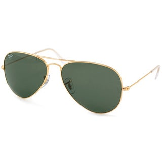 best price on ray ban aviator sunglasses  Ray-Ban Aviator \u0027RB3025\u0027 Unisex Matte Gold/ Blue Flash Lens ...