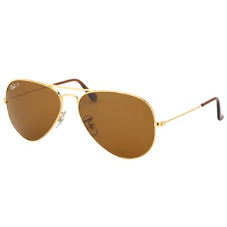 Ray Ban Aviator RB3025 Unisex Gold Frame Brown Polarized Lens Sunglasses