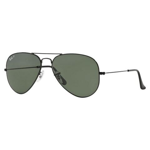 Ray-Ban Aviator RB3025 Unisex Black Frame Green Polarized Lens Sunglasses