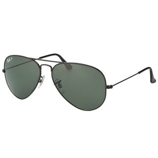 Ray-Ban Aviator RB3025 Unisex Black Frame Green Polarized Lens Sunglasses