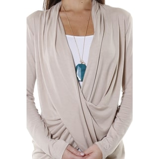 Hadari Women's Contemporary Cowl V-Neck Long Sleeve Blouse