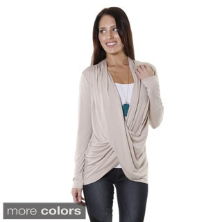 Hadari Women's Contemporary Cowl V-Neck Long Sleeve Blouse