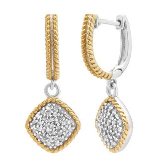 Divina Two-tone Sterling Silver 1/2ct TDW Diamond Dangling Earrings - N/A