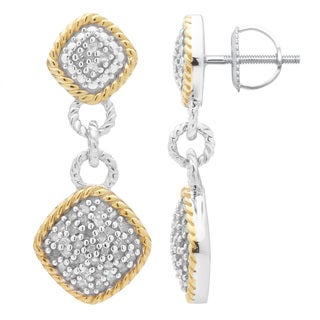 Divina Two-tone Sterling Silver 1/2ct TDW Diamond Dangling Fashion Earrings