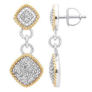 Divina Two-tone Sterling Silver 1/2ct TDW Diamond Dangling Fashion Earrings
