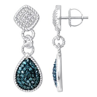 Divina Sterling Silver 1/2ct TDW Blue and White Diamond Dangling Fashion Earrings