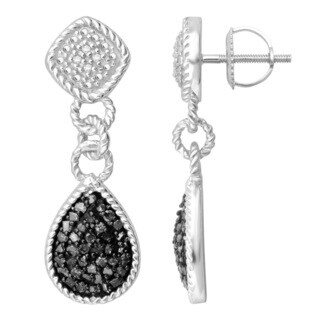 Divina Sterling Silver 2/5ct TDW Black and White Diamond Dangling Fashion Earrings