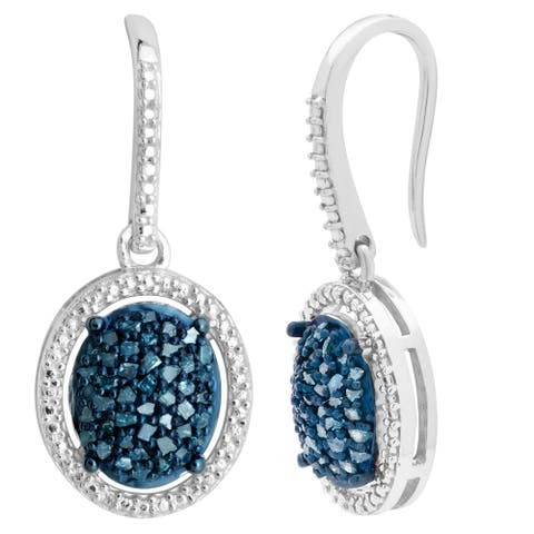 Divina Sterling Silver 2/5ct TDW Blue Diamond Dangling Fashion Earrings