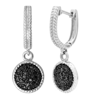 Divina Sterling Silver 1/2ct TDW Black Diamond Dangling Earrrings