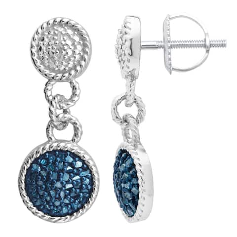 Divina Sterling Silver1/2 ct TDW Blue Diamond Dangling Fashion Earring