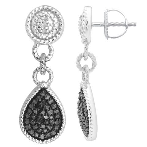 Divina Sterling Silver 1/2ct. TDW Black Diamond Dangling Fashion Earrings