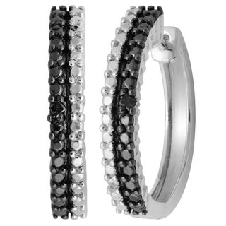 Divina Sterling Silver Black Diamond Accent Fashion Hoop Earrings