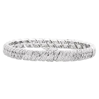 Divina 1ct TDW White Diamond Fashion Link Bracelet