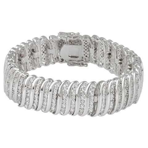 Divina Silverplated 2ct TDW White Diamond Fashion Wrap Bracelet