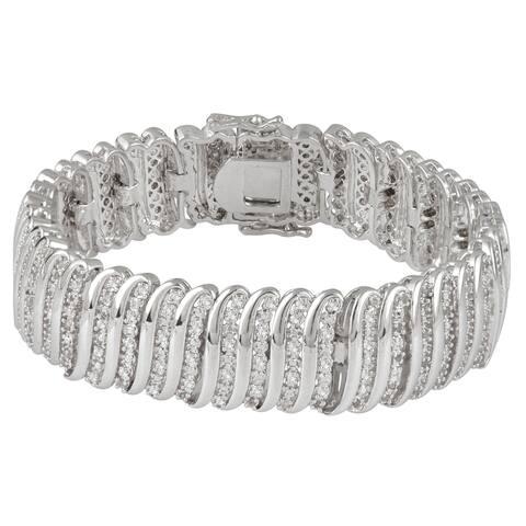 Divina Silverplated 2ct TDW White Diamond Fashion Wrap Bracelet