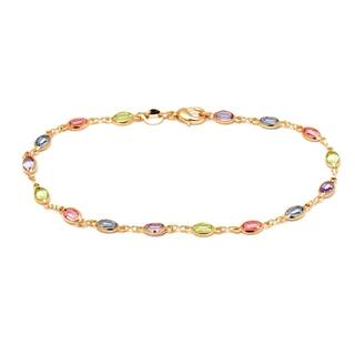 Goldplated Multi-colored Crystal Link Anklet|https://ak1.ostkcdn.com/images/products/9965562/P17117744.jpg?impolicy=medium