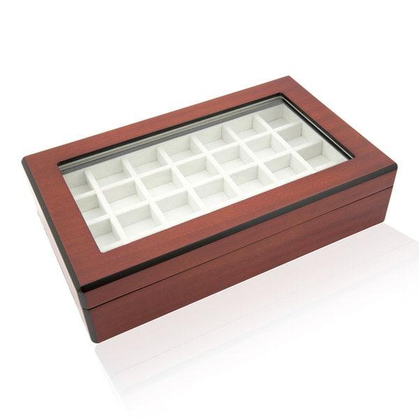 Double Walnut 58 Cufflinks Storage Case Box