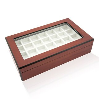 Double Walnut 58 Cufflinks Storage Case Box