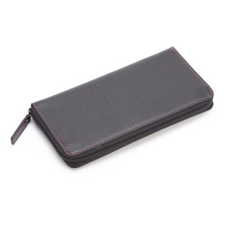 Royce Leather 'Emma' Leather Zip-around Fan Wallet