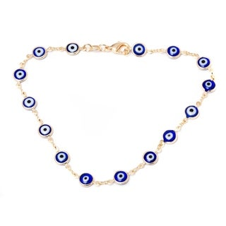 Peermont Jewelry 18k Goldplated Blue Crystal Evil Eye Anklet