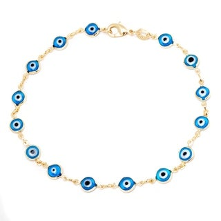 Peermont Jewelry 18k Goldplated Aqua Crystal Evil Eye Anklet