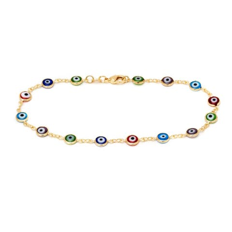 Goldplated Multi-colored Crystal Evil Eye Anklet - Blue