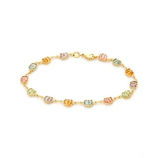 Goldplated Multi-colored Crystal Elephant Anklet